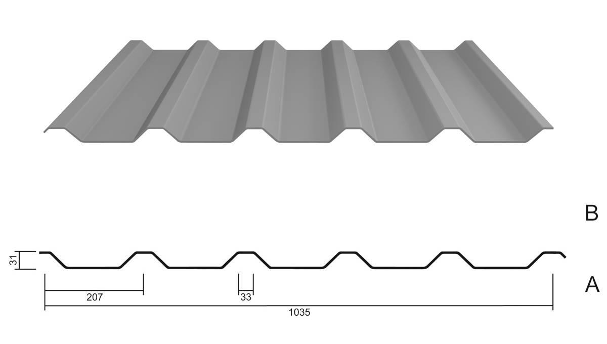 trapezblech m 35 1 207 stahl 0 75 aluzink. Black Bedroom Furniture Sets. Home Design Ideas
