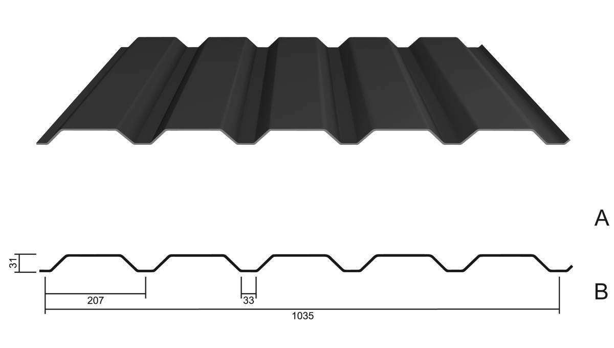 trapezblech m 35 1 207 stahl 0 50 stahl wandblech. Black Bedroom Furniture Sets. Home Design Ideas