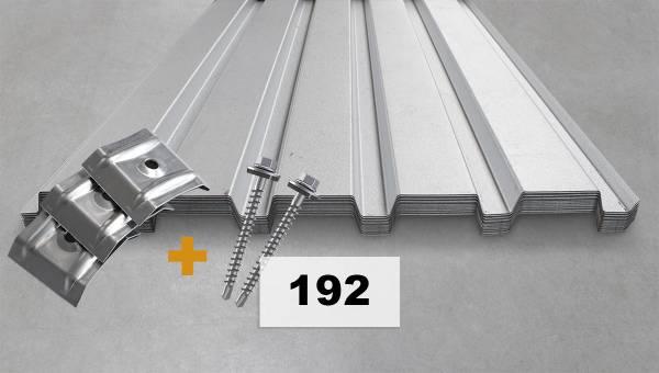 Komplettpaket Nr. 192 Trapezblech + Schrauben + Kalotten-