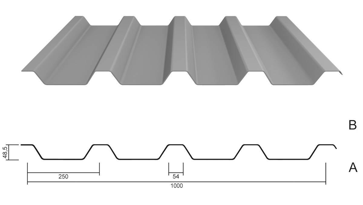 trapezblech m 50 250 stahl 0 75 aluzink. Black Bedroom Furniture Sets. Home Design Ideas