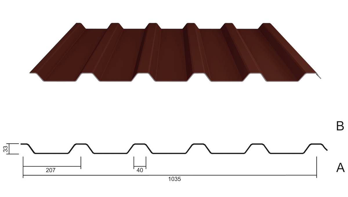 trapezblech m 35 207 stahl 0 63 pe 25 m. Black Bedroom Furniture Sets. Home Design Ideas