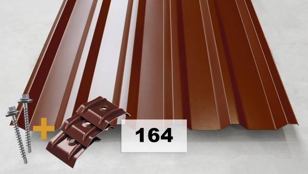 Komplettpaket Nr. 164 Trapezblech + Schrauben + Kalotten