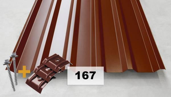Komplettpaket Nr. 167 Trapezblech + Schrauben + Kalotten