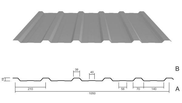 M 20/210 Stahl 0,50 Aluzink