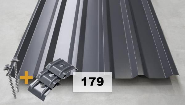 Komplettpaket Nr. 179 Trapezblech + Schrauben + Kalotten