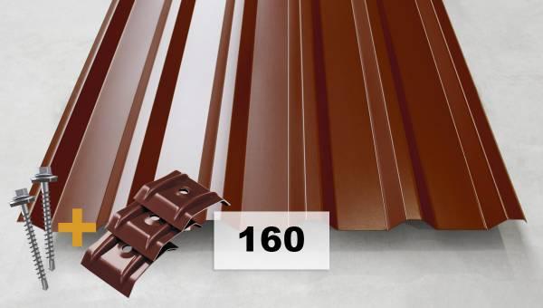 Komplettpaket Nr. 160 Trapezblech + Schrauben + Kalotten